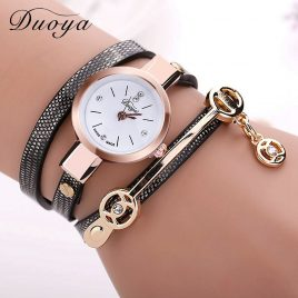 Women's Long Leather Bracelet Dress Watch