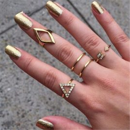 5pc Woman's Geometric Triangle Midi Ring Set with Crystal