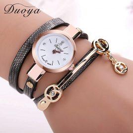 Women's Long Leather Bracelet Dress Watch
