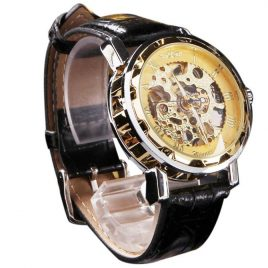 Men's  Classic  Black  Leather  Gold  Dial  Wrist  Watch
